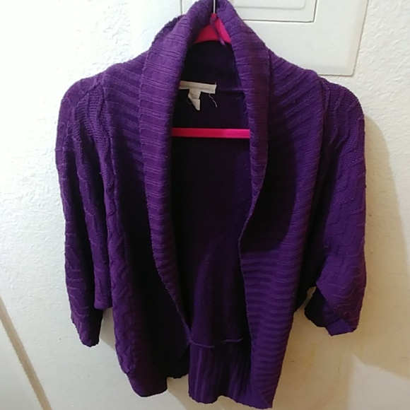 Sweaters - Knitted Purple Cardigan